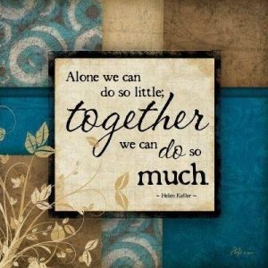 Alone we can do so little, together we can do so much.
