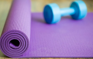 yoga mat and weight